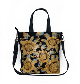 Sackai Cross Body Tote Bag - Black & Yellow Sunflowers