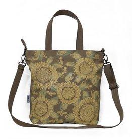 Cross Body Tote Bag - Khaki Yellow Sunflowers