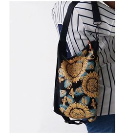 Sackai Black Swing Bag -  Black & Golden Sunflowers