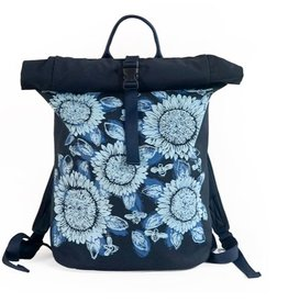 Sackai Rolltop Backpack - Blue Sunflowers