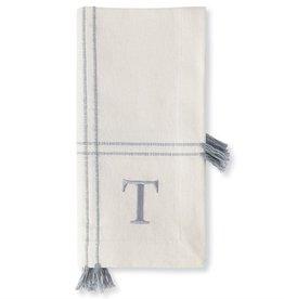 Initial Tassel Dinner Napkin Set of 4 - T