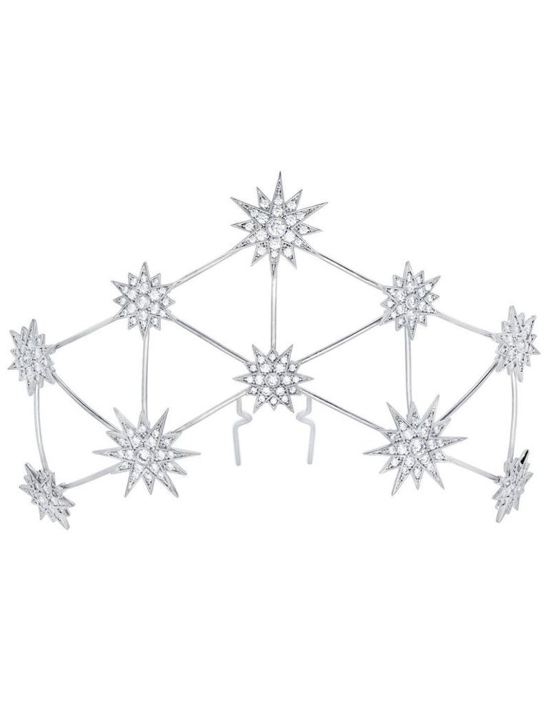 Crislu Constellation Bridal Hair Pin Finished in Pure Platinum