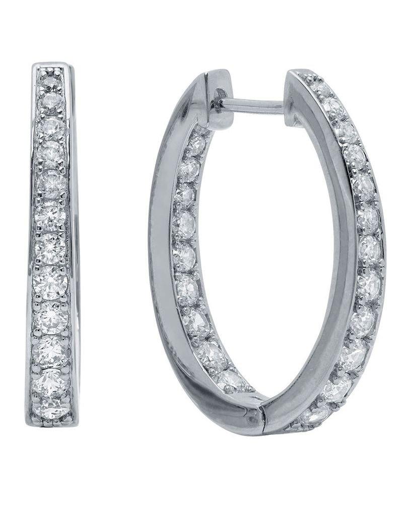 Crislu Hinge Halo Hoop Earrings  Finished in Pure Platinum - 1.4 cttw