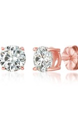 Crislu Solitaire Brilliant Earrings Finished in 18KT Rose Gold - 2 cttw