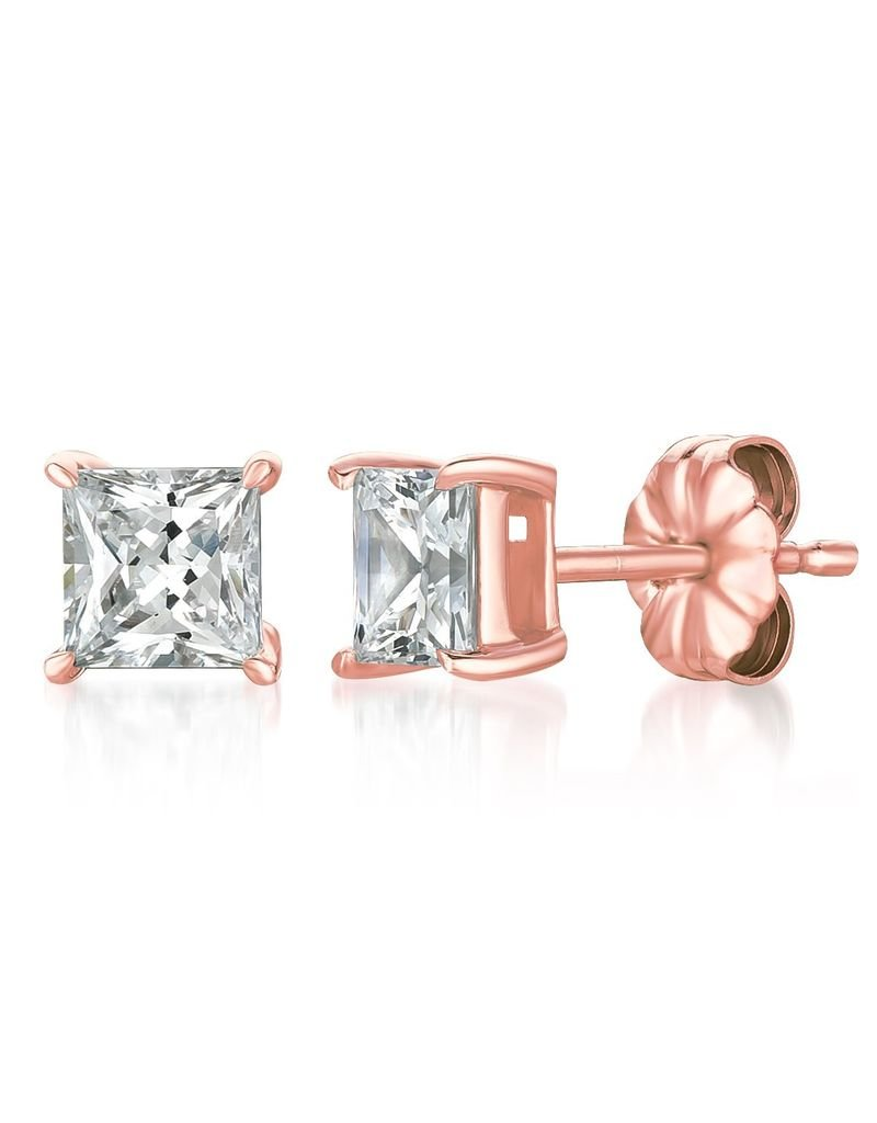 Crislu Solitaire Princess Stud Earrings Rose Gold Finish - 1.5 cttw