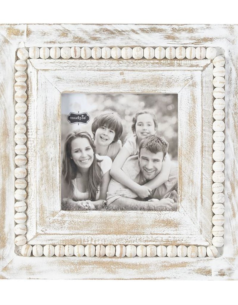 White-Washed Square Beaded Frame
