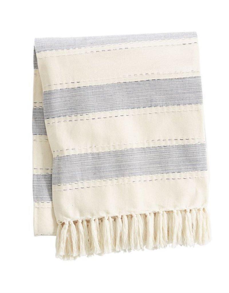 Chambray Striped Blanket - Navy