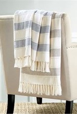 Chambray Striped Blanket - Navy