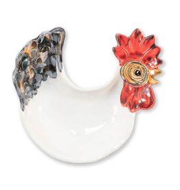 Vietri Fortunata Rooster Figural Footed Small Bowl