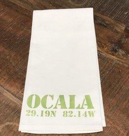 White Tea Towel - OCALA & Ocala's GPS - Lime