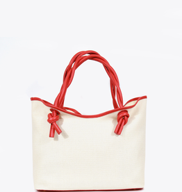Neely & Chloe Twist Tote Raffia and Scarlet Pebble Leather