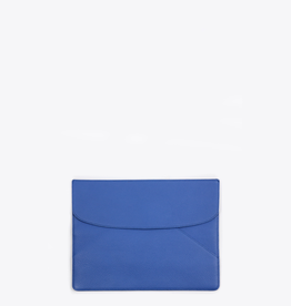 Neely & Chloe Small Layer Clutch Slate Blue Pebble Leather
