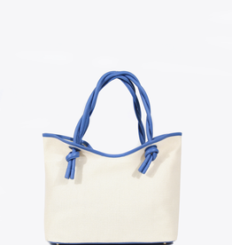 Neely & Chloe Twist Tote Raffia and Slate Blue Pebble Leather