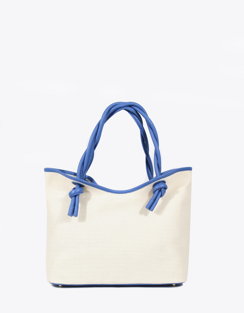 d6c2accce Neely & Chloe Twist Tote Raffia and Slate Blue Pebble Leather ...