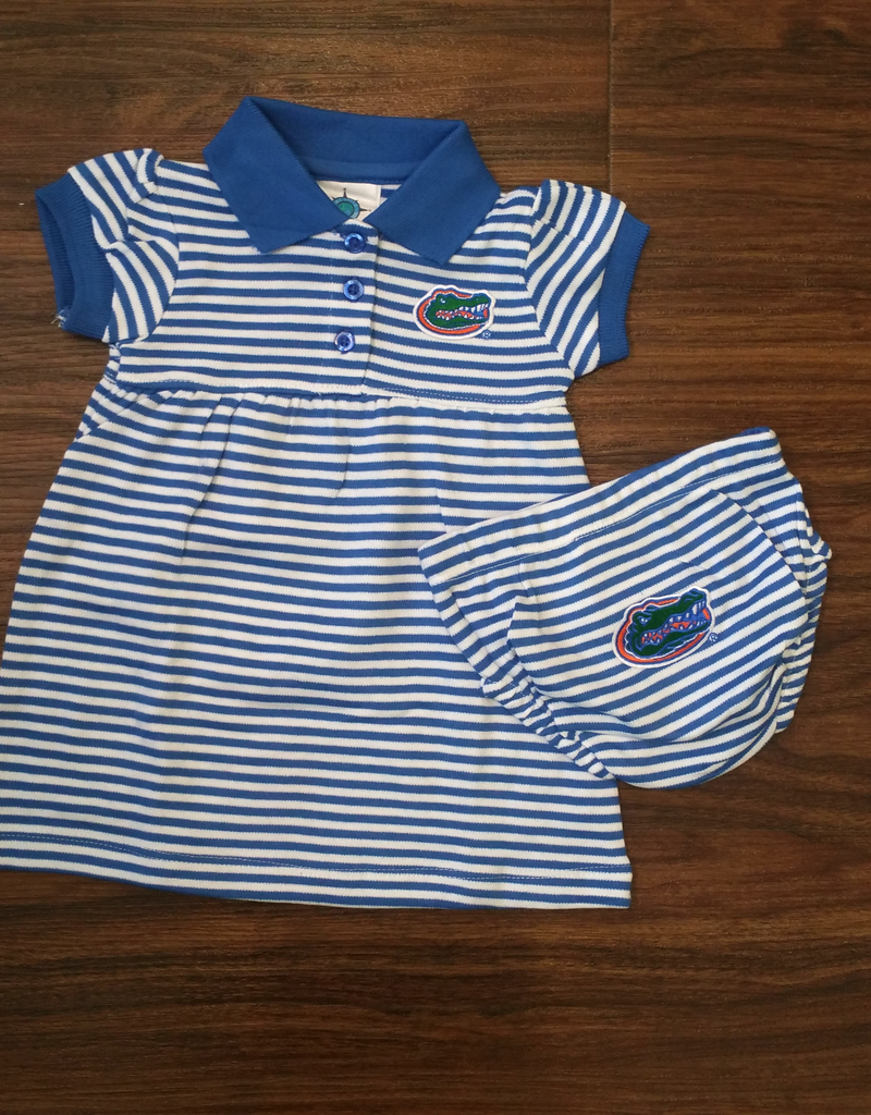 Gator Stripe Dress/Bloomer - Blue - 12 Months