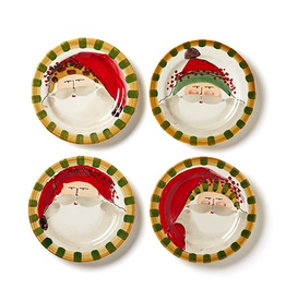 Vietri Old St. Nick Assorted Round Salad Plates - Set of 4