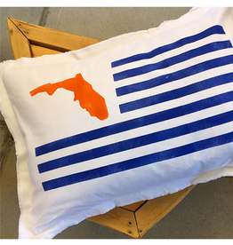"Large White Pillow 18""x25"" - UF Flag - Blue & Orange"