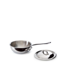 Mauviel 1830 M'cook Stainless Steel Curved Splayed Saute Pan with Lid - Cast SS Handle - 1.7 qt