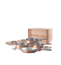 Mauviel 1830 M'150c2 Copper & Stainless Steel Cookware 7 Piece Set, Cast SS Handle Iron Finish - Wood Crate