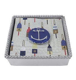 Mariposa Blue Anchor Emblem Twist Cocktail Napkin Box