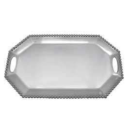 Mariposa Pearled Long Rectangular Octagonal Tray - 19""