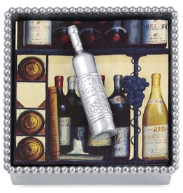 Mariposa Wine Bottle Beaded Cocktail Napkin Box