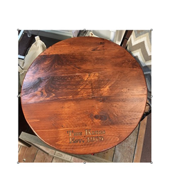 "Customized Wooden Lazy Susan - 23"" Galvanized Skirt"