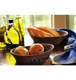 Calaisio Woven Reed Oval Bread Basket w/Tubes - Medium
