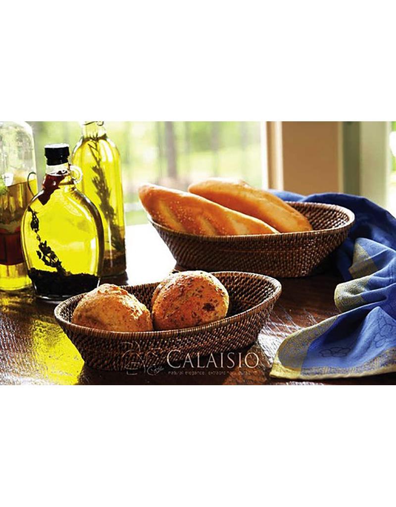 Calaisio Woven Reed Oval Bread Basket w/Tubes - Medium