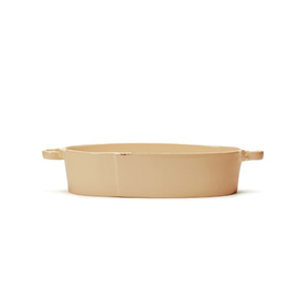 "Vietri Lastra Handled Oval Baker - 15.5"" - Cappuccino"