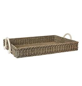 Juliska Waveney Rectangular Wicker Tray - Gray Wash