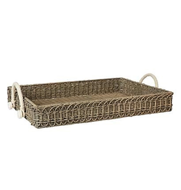 Juliska Waveney Rectangular Wicker Tray - Graywash