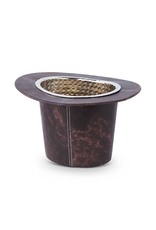 Hat Wine Cooler/Ice Bucket - Brown Leather/Tin