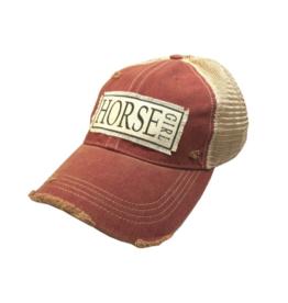Horse Girl Dark Red Distressed Trucker Hat