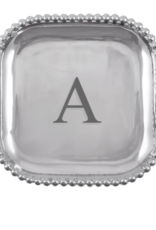 Mariposa Initial Pearled Square Platter - A