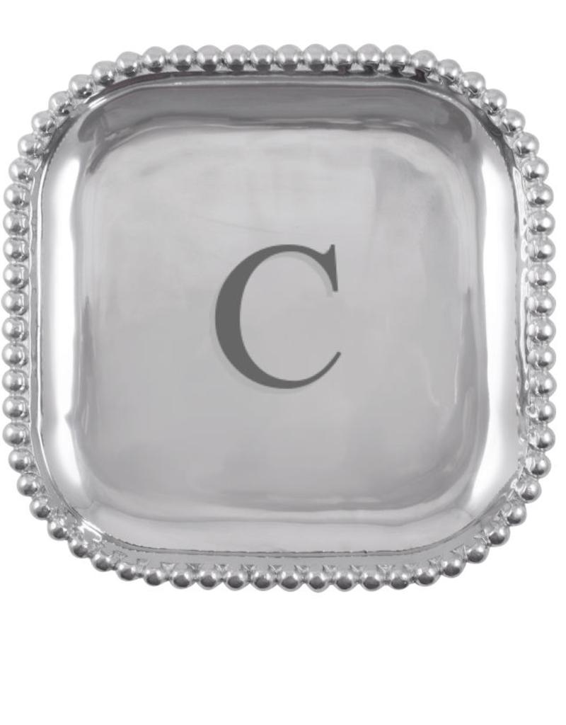 Mariposa Initial Pearled Square Platter - C