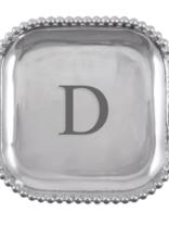 Mariposa Initial Pearled Square Platter - D