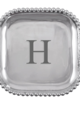 Mariposa Initial Pearled Square Platter - H