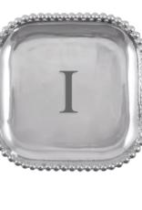 Mariposa Initial Pearled Square Platter - I