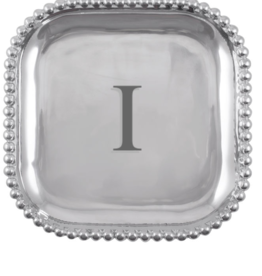 Mariposa Initial Pearled Square Platter - I