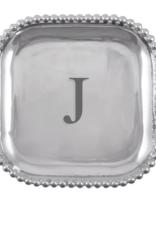 Mariposa Initial Pearled Square Platter - J