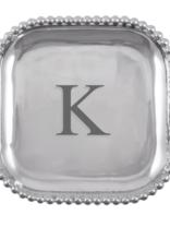 Mariposa Initial Pearled Square Platter - K
