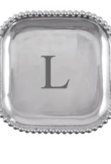 Mariposa Initial Pearled Square Platter - L