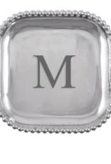 Mariposa Initial Pearled Square Platter - M