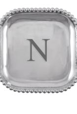 Mariposa Initial Pearled Square Platter - N