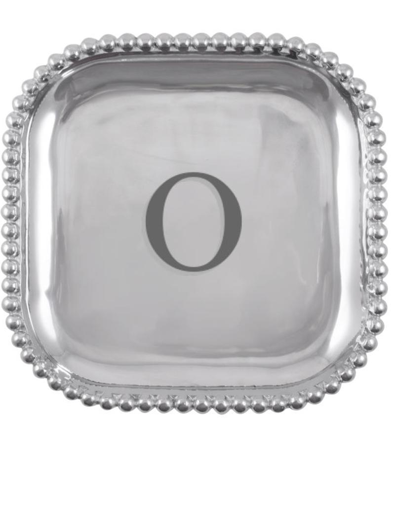 Mariposa Initial Pearled Square Platter - O