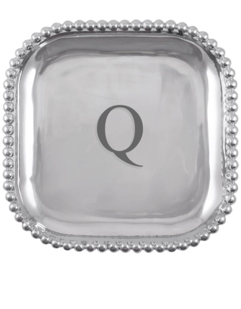 Mariposa Initial Pearled Square Platter - Q