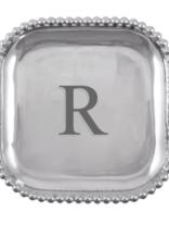 Mariposa Initial Pearled Square Platter - R
