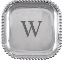 Mariposa Initial Pearled Square Platter - W