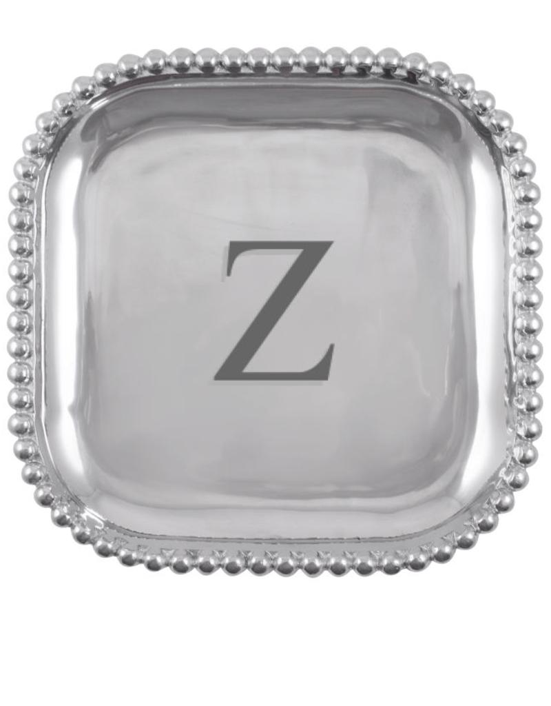 Mariposa Initial Pearled Square Platter - W